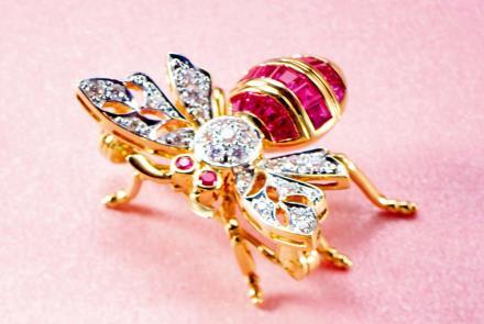 红宝石配钻石蜜蜂胸针