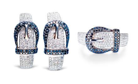 腰带造型钻石戒指及耳环一套