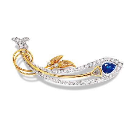 蓝宝石镶钻黄金胸针
