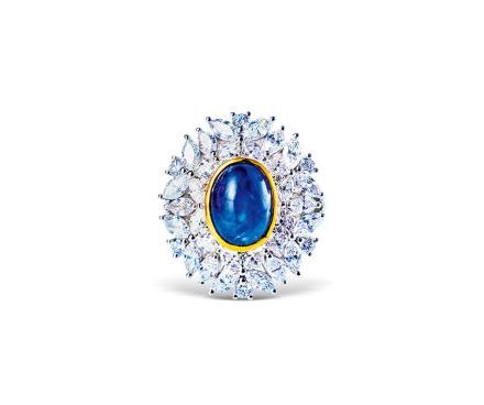 5.49克拉缅甸抹谷无烧皇家蓝宝石配钻石戒指