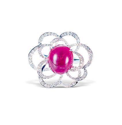 碧玺配钻石戒指