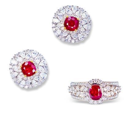 莫桑比克无烧鸽血红宝石配钻石套装