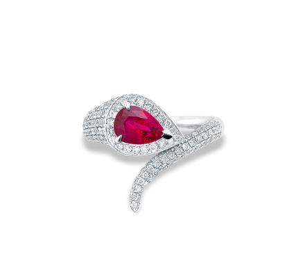 1.05克拉无烧鸽血红红宝石配钻石戒指