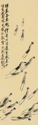齐白石(1864-1957)群虾图