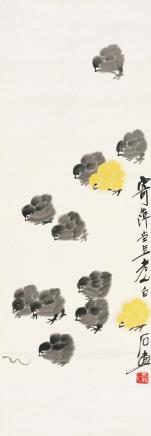 齐白石(1864-1957)小鸡戏虫图