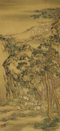 沈铨(1682-1760)古柏鹿群图