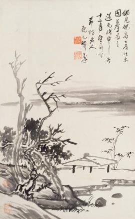阮元(1764-1849)仿倪山水