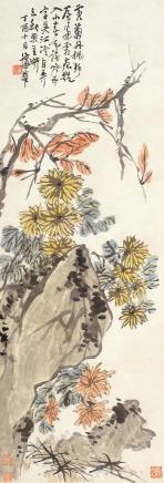 蒲华(1839-1911)黄菊丹枫
