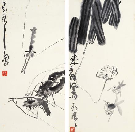 丁衍庸(1902-1978)鱼虾对屏
