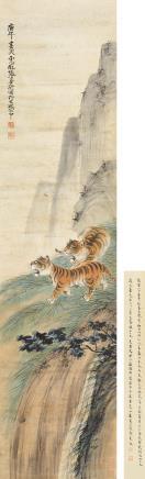 张善孖(1882-1940)双虎