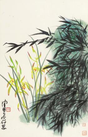 陈佩秋(b.1922)绿竹