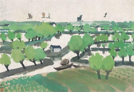 古元(1919-1996)太湖渔村