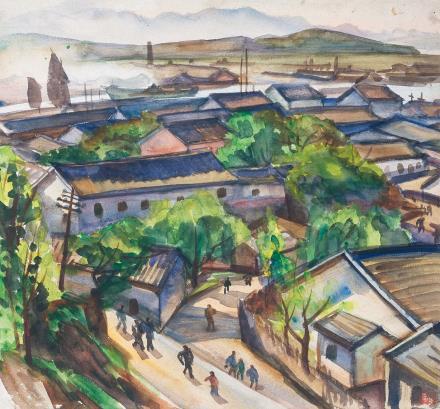 倪贻德(1901-1970)江边小镇