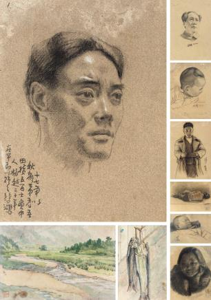 徐悲鸿(1895-1953)、祝家声素描人物