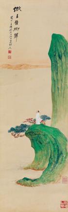 张大千(1899-1983)  仿王晋卿笔