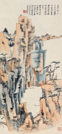 张大千(1899-1983)  秋山垂钓
