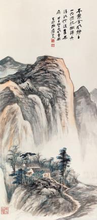 张大千(1899-1983)  木叶含风静