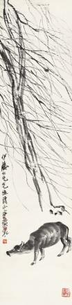 齐白石(1864-1957)柳牛图