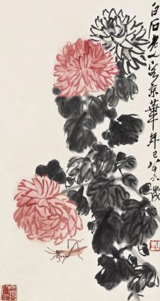 齐白石(1864-1957)菊花草虫