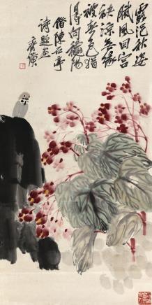 齐白石(1864-1957)海棠小鸟