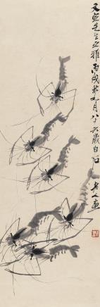 齐白石(1864-1957)虾趣图
