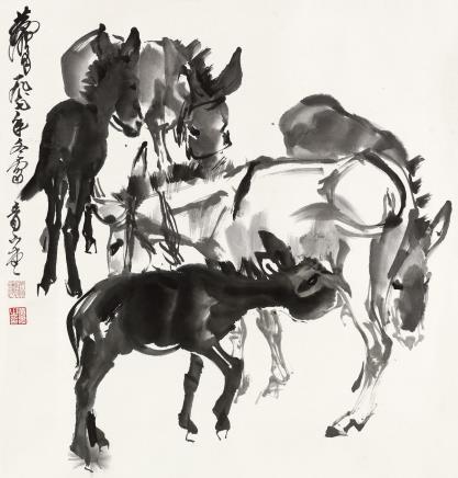黄胄(1925-1997)  五驴图