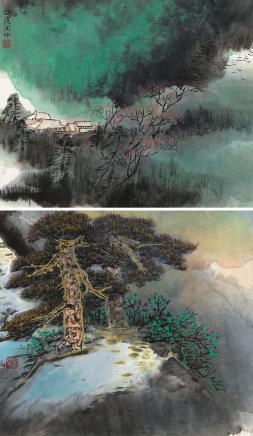 何海霞(1908-1998)山水(二帧)