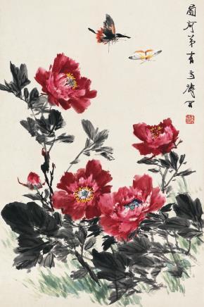 王雪涛(1903-1982)牡丹双蝶