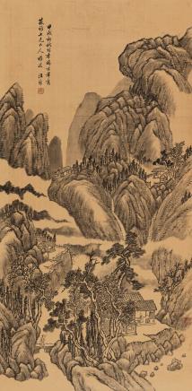汪昉(1799-1877)策杖访友图