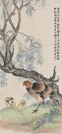 陆    恢(1851-1920)育雏图