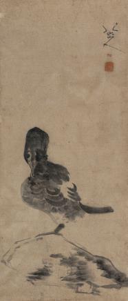 八大山人(款)(1626-1705)孤石独禽