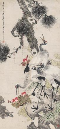 朱梦庐(1826-1900 )松鹤图