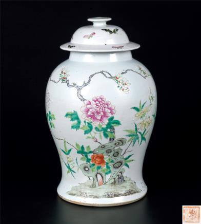 清粉彩花卉纹将军罐