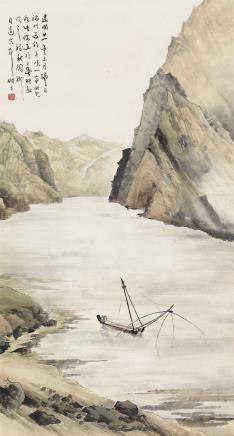 黎雄才(1910-2001)羚羊峡独钓图