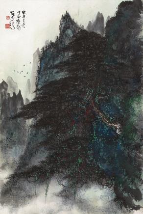 黎雄才(1910-2001)松山飞鸟