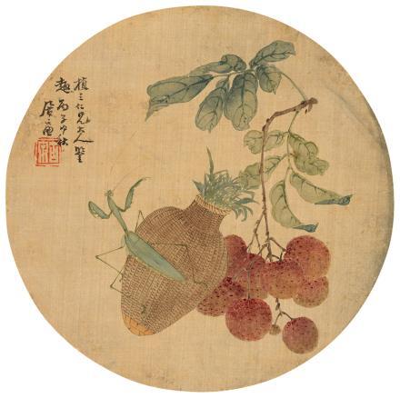 居廉(1828-1904)荔枝螳螂