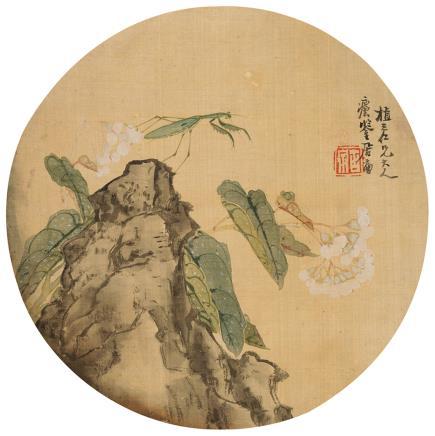 居廉(1828-1904)螳螂花卉