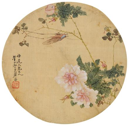 居廉(1828-1904)月季蚱蜢