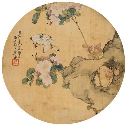 居廉(1828-1904)蜂蝶