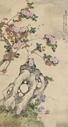 居廉(1828-1904)花卉草虫