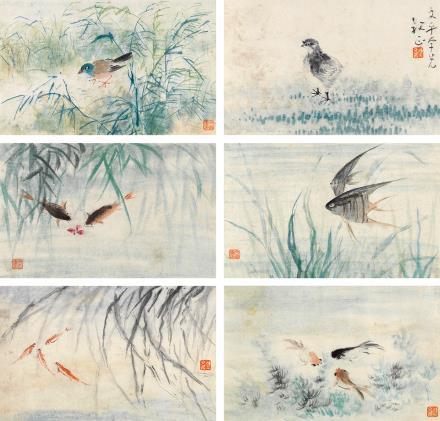 陈文希(1906-1992)花鸟鱼藻六帧