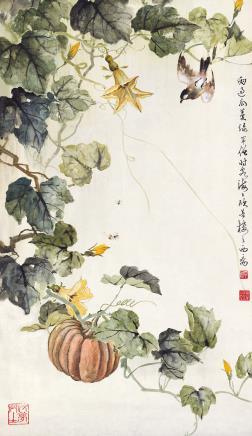 黄幻吾(1906-1985)雨过瓜蔓绿