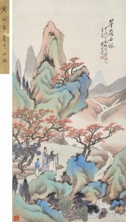 黄山寿(1855-1919)翠领丹枫