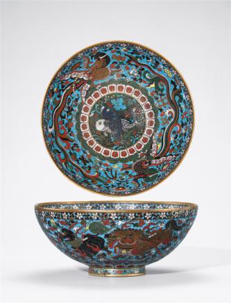 明中期  铜胎掐丝珐琅狮子戏球纹碗