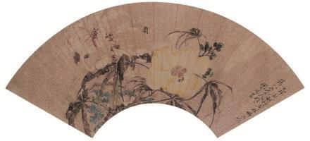 汤世澍(1831-1903)花卉扇面