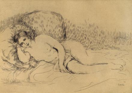 皮埃尔-奥古斯特-雷诺阿 面朝左侧的斜靠女人体 1906