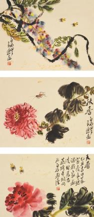 齐良迟(1921-2003)花鸟三挖