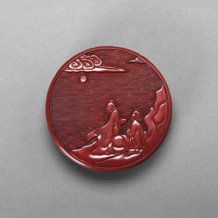剔红对月抚琴图香盒