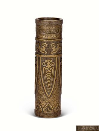 清早期铜雕蝉纹香筒