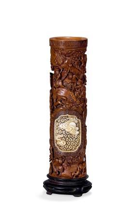 清黄杨木雕狩猎图香筒